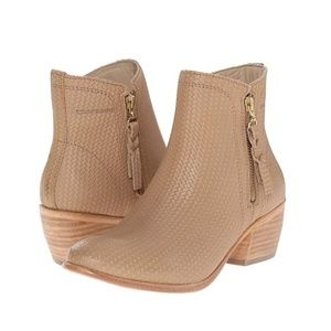 NWT WOLVERINE Side Zip Beige Leather Bootie
